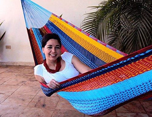 Sunnydaze Portable Hand-woven 1 Person Mayan Hammock Single Size Multi-color 330 Pound Capacity