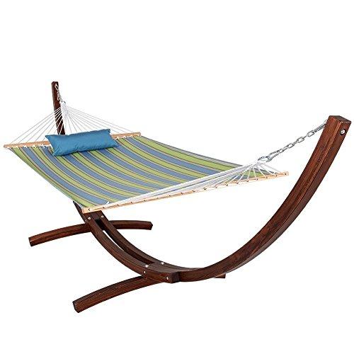Lazydaze Hammocks Sunbrella Fabric Hammock and 12 Feet Wood Arc Hammock StandBackyard Combo Set  Bravada Limelite
