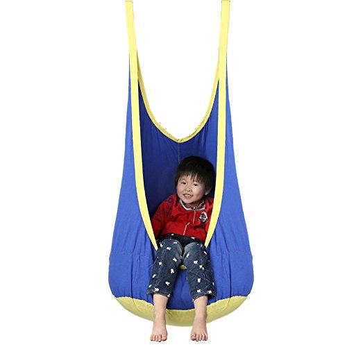 Pellor Childrens Outdoor Suspension Seat Kids Swing Hammock Blue