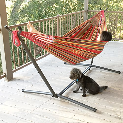 Apontus Double Hammock With Space Saving Steel Stand Includes Portable Carrying Case red Stripe