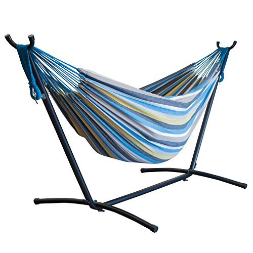 Driftsun Space Saving Two Person Patio And Lawn Portable Double Hammock With Steel Stand striped Paradise