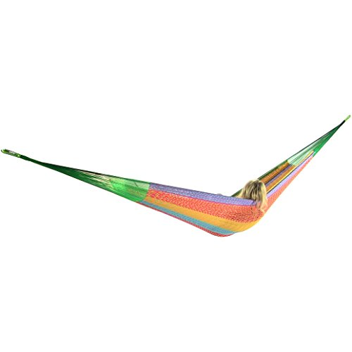 Sunnydaze Portable Hand-woven 2 Person Mayan Hammock Double Size Multi-color 440 Pound Capacity