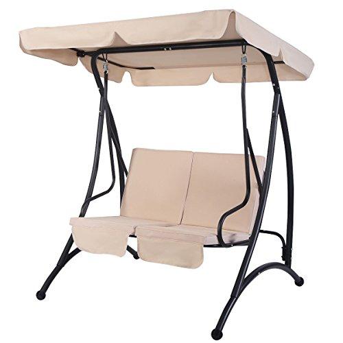 Allblessings 2 Seats Beige Canopy Swing Chair Hammock Cushioned Patio Furniture Steel Frame