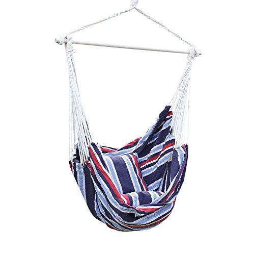 Adeco Deutschland Blue Hanging Hammock Chair For Indoor And Outdoor Spaces