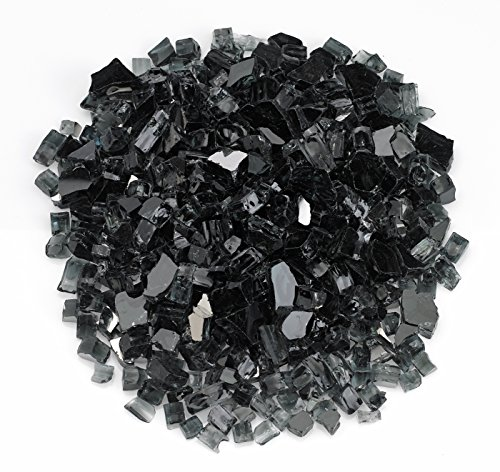 American Fireglass 5-pound Reflective Fire Glass With Fireplace And Fire Pit Glass 12-inch Black