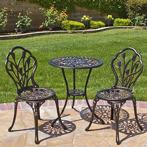 Best Choice Products&reg Outdoor Patio Furniture Tulip Design Cast Aluminum Bistro Set In Antique Copper