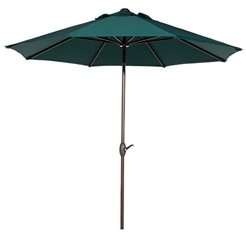 Abba Patio 11-Feet Patio Umbrella Outdoor Market Umbrella with Push Button Tilt and Crank 8 Ribs Dark Green