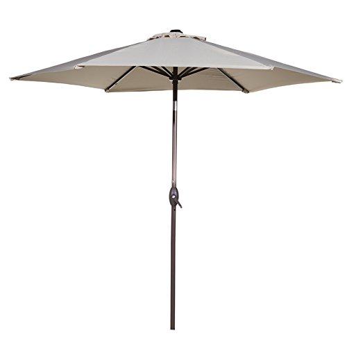 Abba Patio 9 Ft Market Outdoor Aluminum Table Patio Umbrella With Push Button Tilt And Crank Beige