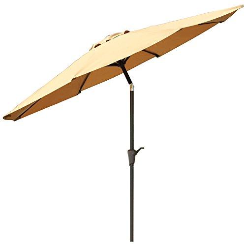 Ollieroo&reg Patio Umbrella Tilt Beige Aluminum 9ft Outdoor Market Umbrella With Crank 8 Steel Ribs And Wind Vent