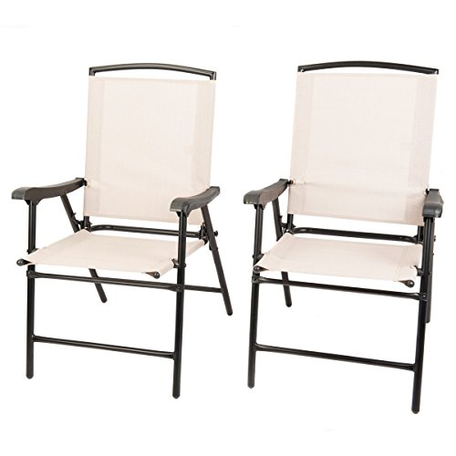 Naturefun Foldable Outdoor Indoor Sling Dining Chair Portable Garden Balcony Leisure Chair 1 Pair
