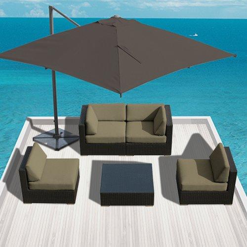 Luxxella Patio Bella Genuine Outdoor Wicker Furniture 5-Piece Contemporary Sectional Sofa Set  Taupe