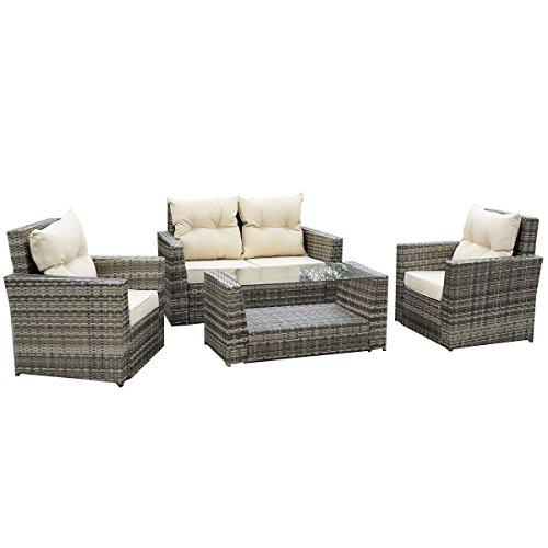 Tangkula 4PCS Outdoor Patio Rattan Wicker Furniture Set Loveseat Cushioned Garden Pool