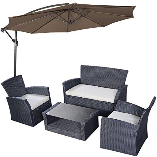 Tangkula 4pcs Patio Outdoor Wicker Furniture Set with Shade Umbrella Tan