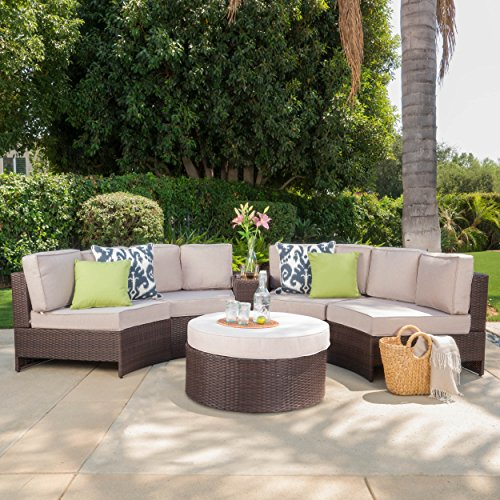Riviera Portofino Outdoor Patio Furniture Wicker 6 Piece Semicircular Sectional Sofa Seating Set W Waterproof