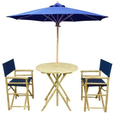 Zew Handmade 4-Piece Bamboo Outdoor Patio Set Includes Round Table 2 Canvas Chairs and 1 Umbrella Indigo
