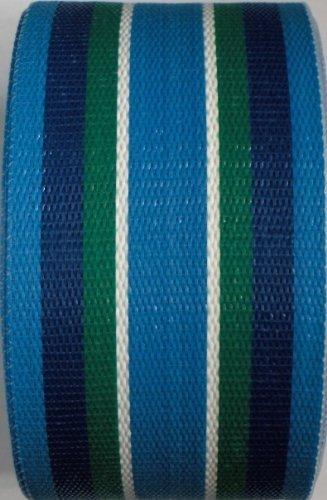 WebbingProTM Blue Green Stripe Lawn Chair Webbing 2 14 Inch Wide 100 Feet Long Roll
