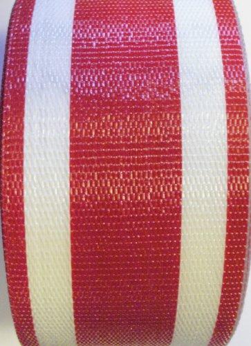 WebbingProTM Red Stripe Lawn Chair Webbing 3 Inches Wide 100 Feet Long Roll