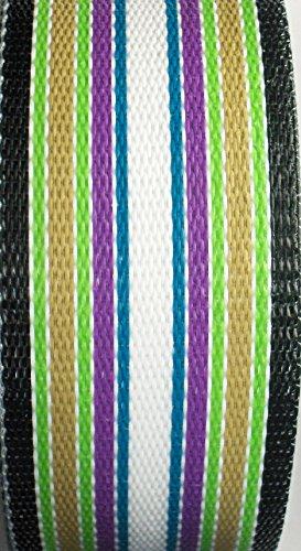 Webbingprotm Green Multi Stripe Lawn Chair Webbing 3 Inch Wide 100 Feet Long Roll