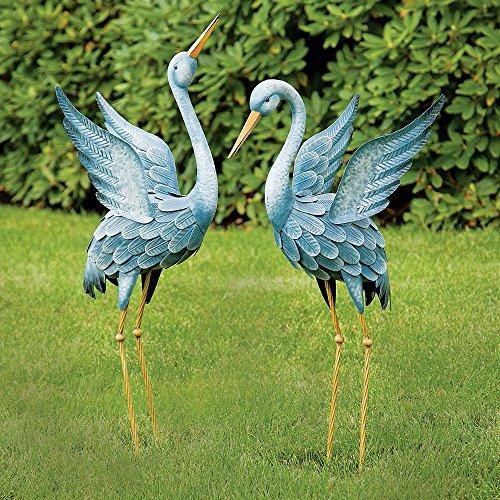 Bits and Pieces - Japanese Blue Heron Metal Garden Sculpture Set - Two Metal Cranes Perfect for Garden Décor - Metal Garden Art Outdoor Lawn and Patio Décor Backyard Sculpture and Decoration
