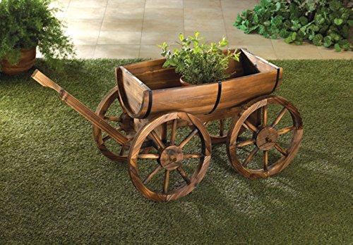 Garden Planters Wooden Wagon Wheel Wine Barrel Flower Plant Holder Box Stand Outdoor Indoor Corner Patio Decor