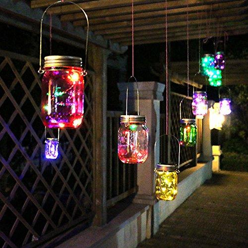 Holidayli Solar Mason Jar Lights Multi Pack LED Colorful Solar Fairy Lights Lids Insert for Garden Deck Patio Decor Hanging Lantern Lights 1-Pack