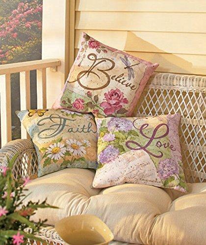 Set of Three 16 Inspirational Springtime Believe Roses Faith Daisies Love Hydrangea Pillow Accent Toss Living Room Patio Decor