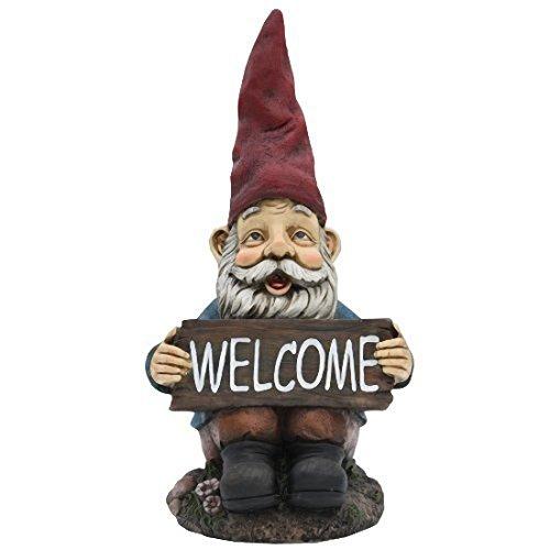TruePower Quality Garden and Patio Decor Garden Gnome and Welcome Sign 14