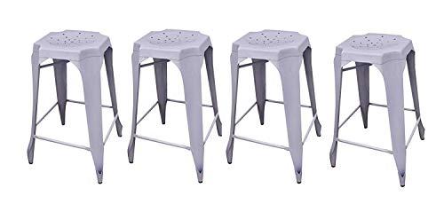 AVYAN AARI FURNITURE Premium Bar Stool Set of 4 - Hole Top White Metal IndoorOutdoor Patio Furniture Set