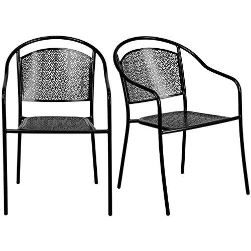 KLS14 Set of 4 Contemporary Steel Patio Arm Chair Stackable Lightweight Design Indoor-Outdoor Furniture - Black2418