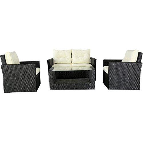 Goplus4PC Patio Lawn Cushioned Seat Rattan Sofa Furniture Set  Black Wicker