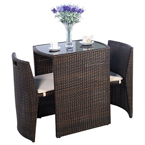 Premium Product 3 PCS Cushioned Outdoor Wicker Patio Set Garden Lawn Sofa Furniture Seat Brown