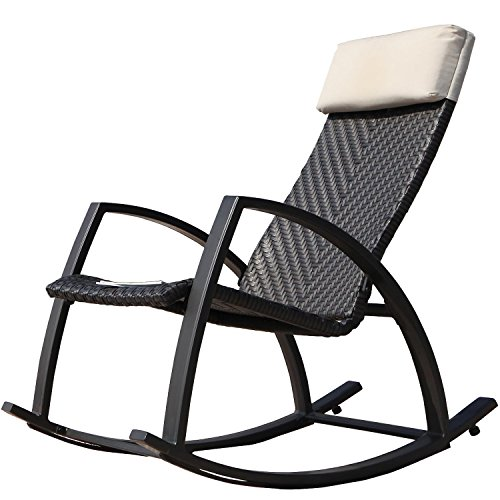 Grand Patio Weather Resistant Wicker Rocking Chair with Breathable Headrest and Wood Grain Painted Armrests Aluminum Frame Outdoor Rocking Chair Dark Brown