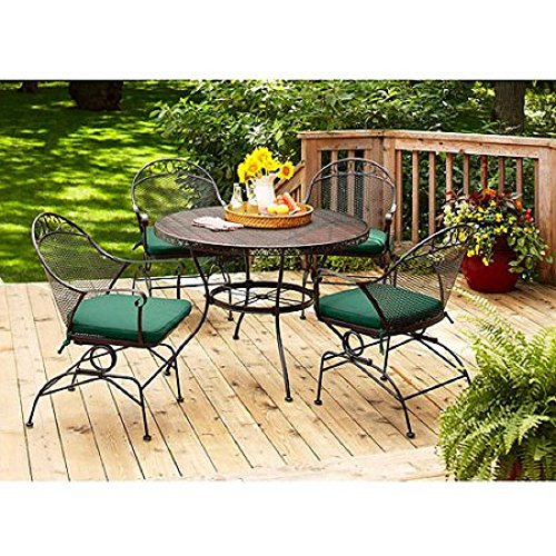 New Better Homes and Gardens Clayton Court 5-Piece Tables Chairs Outdoor Patio Furniture Dining Green Cushions Seats 4 Set Clearance Sale