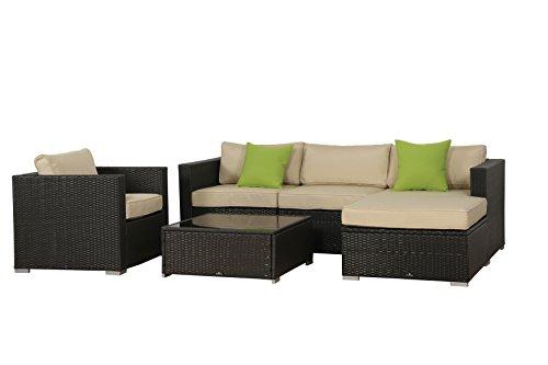 BroyerK 6 Pcs Beige Outdoor Rattan Set Sofa Wicker Sectional Garden Patio Furniture