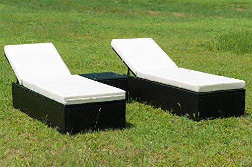 Merax Outdoor Rattan Lounge Set 3 Pcs Sofa Wicker Sectional Garden Patio Furniture