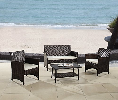Modern Outdoor Garden Patio 4 Piece Seat - Gray Espresso Wicker Sofa Furniture Set espresso