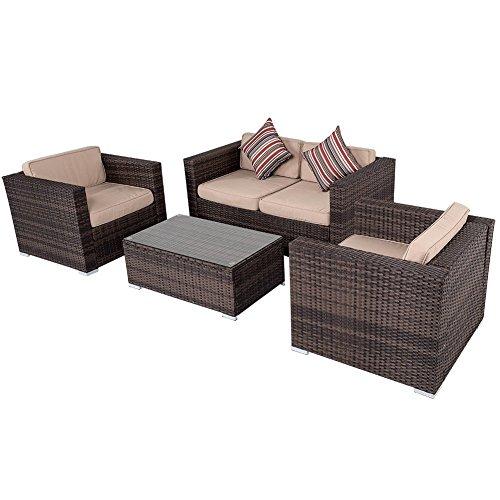 Sundale Outdoor 4-piece Wicker Garden Patio Furniture Sofa Set