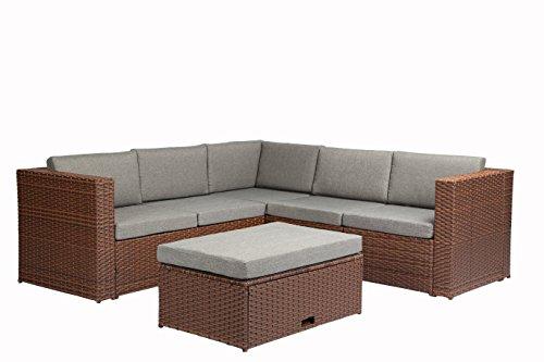 Baner Garden (k35-br) 4  Pieces Outdoor Furniture Complete Patio Cushion Wicker Rattan Garden Corner Sofa Couch