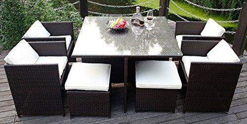 Merax 9 PCS Patio Furniture Dining set Garden Outdoor patio furniture sets PE Wicker Rattan Patio Set Brown
