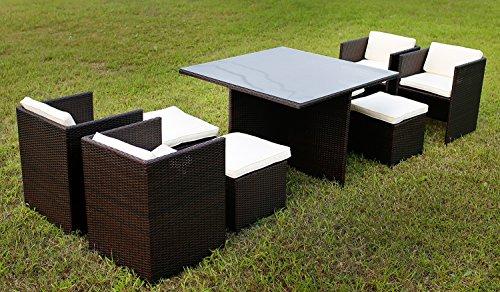 Merax 9-Piece Outdoor PE Rattan Wicker Patio Dining Table Set Garden Outdoor Patio Furniture Set