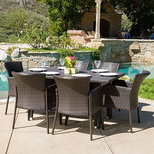 Patio Furniture Dining SetOutdoor Dining SetsAnaya Outdoor 7-Piece Brown WickerContemporary ModernDining Set