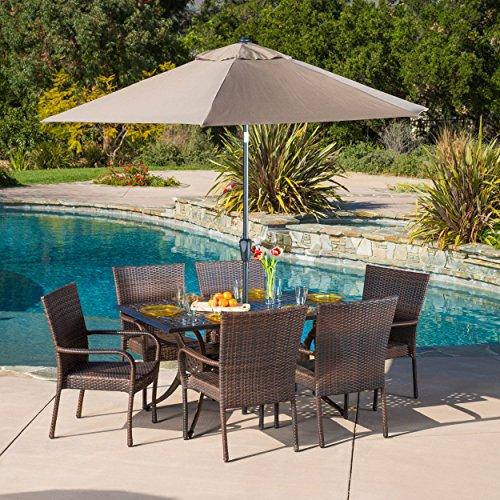 Patio Furniture SetsContemporary Modern LittletonBrown Patio Furniture Dining Set Rectangular Patio Dining SetCast and Wicker 7-piece Dining Set