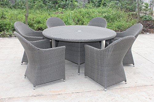 Terra Linda 7 Pc Circular Patio Furniture Dining Set with Umbrella Whole