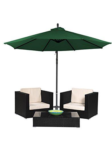 3-Piece Patio Conversation Set of Black Rattan Wicker with Offset Patio Umbrella by Trademark Innovations Dark Green Offset Umbrella