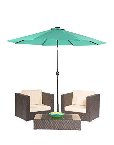3-Piece Patio Conversation Set of Brown Rattan Wicker with Tilt Patio Umbrella by Trademark Innovations Teal Tilt Umbrella