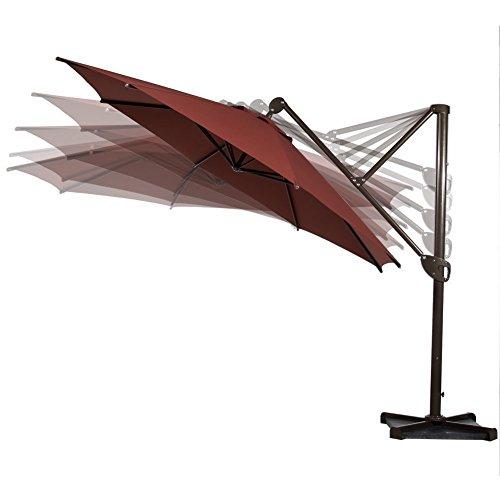 Abba Patio 11-feet Octagon Offset Cantilever Patio Umbrella With Vertical Tilt And Cross Base Dark Red