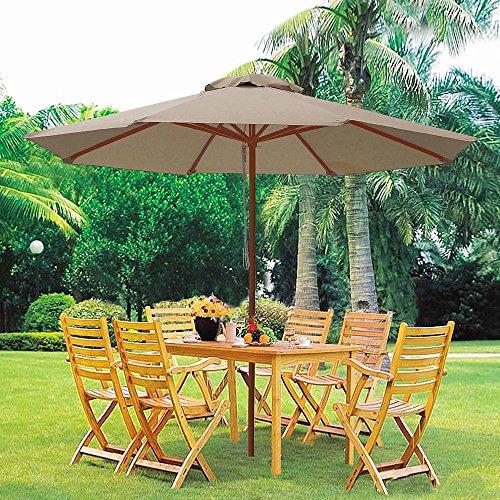 9ft Wooden Outdoor Patio Table Umbrella W Pulley Market Garden Yard Beach Deck Cafe Decor Sunshade