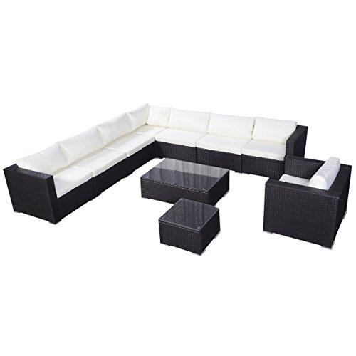Giantex 10pc Outdoor Patio Furniture Set Pe Wicker Rattan Sofa Aluminum Frame Brown