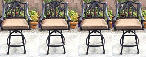Patio Bar Stools Set of 4 Swivel Palm Tree Cast Aluminum Outdoor Furniture - Desert Bronze