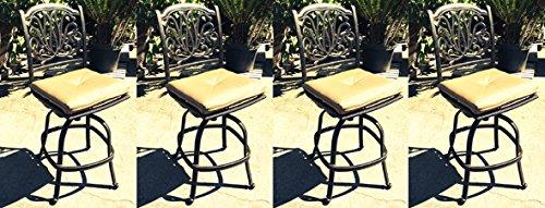 Patio Bar Stools Swivel Set of 4 Armless Elisabeth Cast Aluminum Outdoor Furniture
